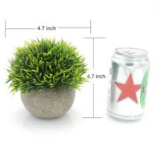 velener mini plastic fake green grass of plants with pots for home