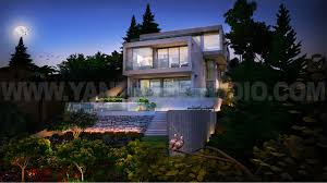 architectural exterior rendering bungalow with garden view arch