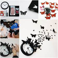 awesome clock wall in conjunction with ideas diy butterfly