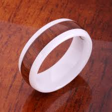 wooden wedding bands 8mm oval high tech white ceramic koa wood wedding ring makani