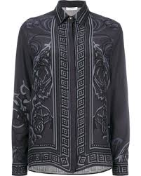 grey silk blouse deal on versace collection arabesque print shirt