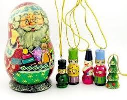 santa claus kris kringle 4 wood doll w ornaments russian