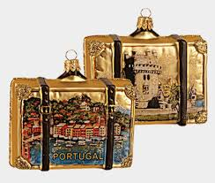portugal travel suitcase blown glass ornament