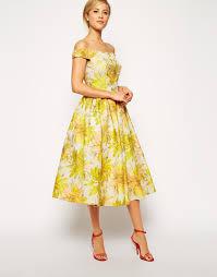 asos sunflower bardot midi prom dress in yellow lyst