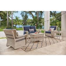 outdoor sitting hton bay park meadows off white 5 piece wicker outdoor seating