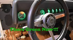 jeep wrangler dashboard lights green led dash light conversion on 1988 jeep wrangler yj youtube