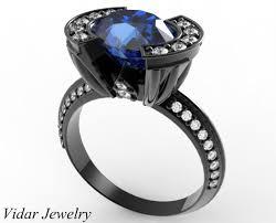 black gold sapphire engagement rings black gold oval blue sapphire engagement ring vidar jewelry