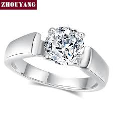 wedding rings with images Classic cubic zirconia wedding ring with 4 prongs rose gold b santa jpg
