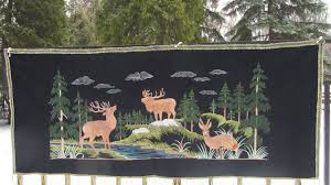 vintage deer ornament carpet from ussr wool and silk wall hanging