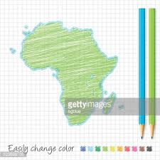 africa map hand drawn on white background blue highlighter vector