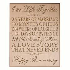 25 wedding anniversary 25th wedding anniversary personalized wall plaque lifesong