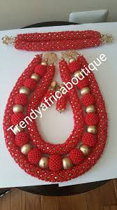 african wedding bead necklace images Red beaded coral necklace set for nigerian african traditional jpg