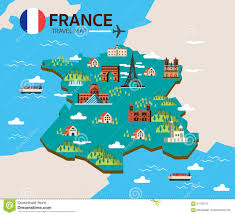 New France Map by France Landmark And Travel Map Flat Design Elements And Icons