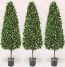 topiary trees three 56 inch outdoor artificial boxwood cone topiary trees uv