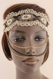 beige fabric lace gold black metal elastic chains face mask