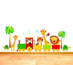 train wall art shenra com childrens jungle animal train lion tiger giraffe tortoise