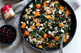 kale salad for thanksgiving butternut squash and kale salad with pomegranate goat cheese