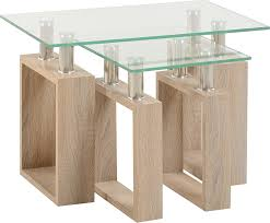 milan nest of tables in sonoma oak effect veneer clear glass
