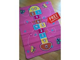 pink butterfly hopscotch kids rug activity rug