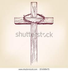 cross crown thorns symbol christianity stock vector 374589475