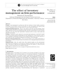 of inventory the effect of inventory management on firm performance pdf
