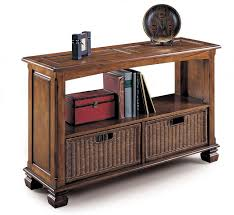 Rattan Console Table Living Room Brown Stained Wooden Console Table With Book Rack And