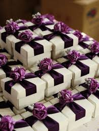 wedding party favor boxes white wedding favor candy box with purple ribbon and purple