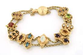 vintage gold bracelet charms images Old slide bracelet 14 k and charms collection on ebay jpg