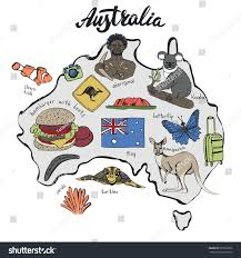 australia travel doodles map backgroundhand stock vector