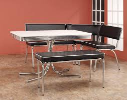 retro dining set room with chrome metal frame bech with back using