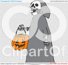 transparent halloween background clipart of a cartoon halloween skeleton wearing a hood and