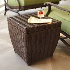 Wicker Patio Furniture Hampton Bay Pembrey Brown All Weather Wicker Patio Storage Cube