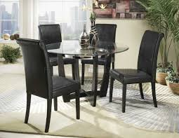 Round Dining Table With Glass Top Ebony Finish Modern Round Clear Glass Top 5pc Dining Set