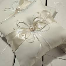 wedding pillow rings hot sell mic ivory ribbon pearl wedding ceremony satin ring bearer