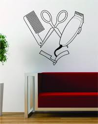 barber clippers scissors design barbershop hair salon decal