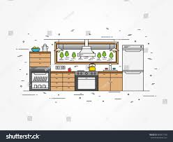 modern kitchen art kitchen interior line art vector illustration stock vector