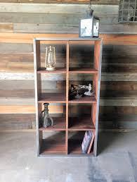 Cube Bookcase Wood Reclaimed Wood Double Cube Bookcase Bookshelf Bookshelves What