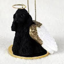 cocker spaniel figurine ornament statue painted black