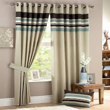 Duck Egg Blue Blackout Curtains Duck Egg Blue Brown Beige Stripe Eyelet Lined Curtains Memsaheb Net