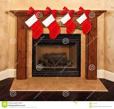 fireplace mantel christmas stockings royalty free stock