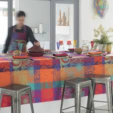 nappe ronde tissu enduit nappes enduites fantaisie original multicolore