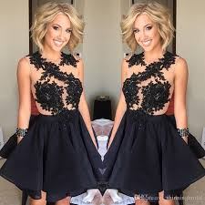 black homecoming dresses 2017 sheer crew neckline transparent lace