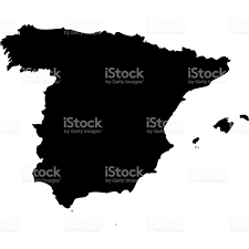 Spain On A Map Silhouetted Map Of Spain On A White Background Stock Vector Art