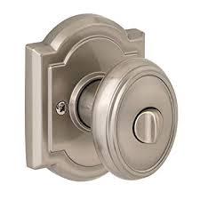 Baldwin CYK ARB  Carnaby BedBath Knob Satin Nickel - Bathroom door knob with lock
