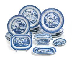 canton porcelain a of canton porcelain blue and white dinner wares br 19th