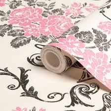 B Q Bedroom Wallpaper Statement Beatrice Black U0026 Pink Damask Wallpaper Departments