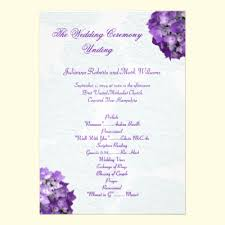 elegant wedding purple program templates purple hydrangeas