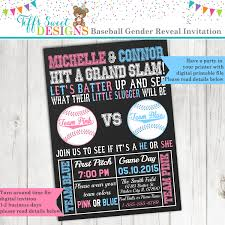 baseball gender reveal party invitation pink and blue boy