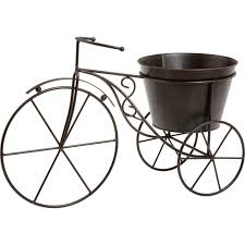 bicycle plant holder metal garden ornament brown at homebase co uk