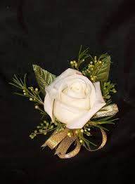 white wrist corsage single white wrist corsage with gold ribbon a better bloom